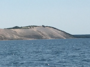 Sleeping Bear Sand Dunes from a 3/4 of a mile out.  We could see folks running down and climbing back up.