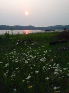 Sun setting over Lower Herring Lake and Camp Lookout.  (Photo with permission and compliments of Andrea)