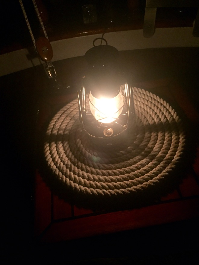 Jim's Dietz kerosene lantern that lights up our evenings in the cockpit!