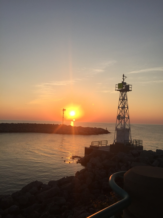 Sunrise over Lake Michigan from Racine Harbor.