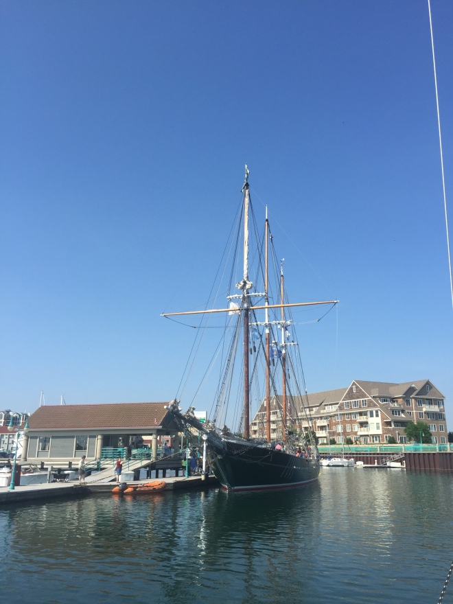 The Denis Sullivan, square rigger tall ship docked at the Racine Harbor for educational and sailing excursions.