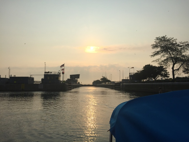 The sun rising and the Chicago lock door closing behind us.