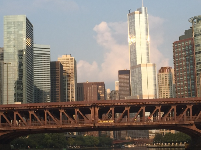 Downtown Chicago in the early morning sunshine