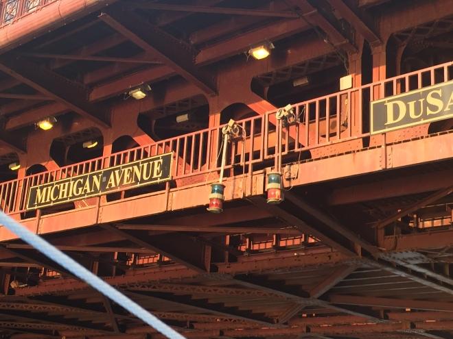 Passing under the Michigan Avenue Bridge.