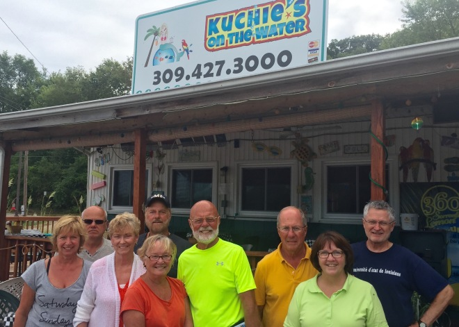 Burgers around at Kuchie's, 10:30 a.m. Even took some to the lock staff.
