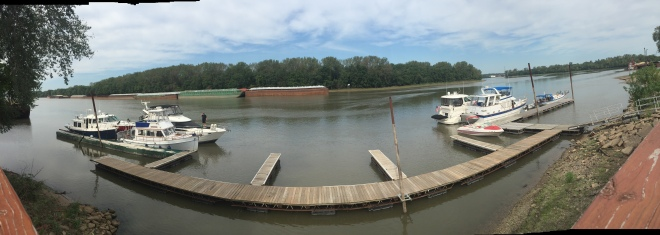 Seven boats waiting - taken with a pano lens to get everyone in.