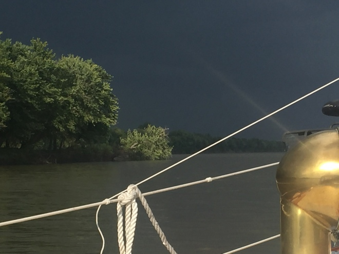 Waiting at anchor for the storm that didn't happen. The cool off was a relief!
