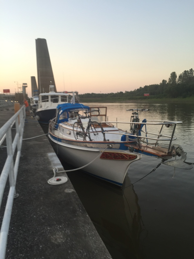 Five boats along the wall at Kaskaskia Lock.