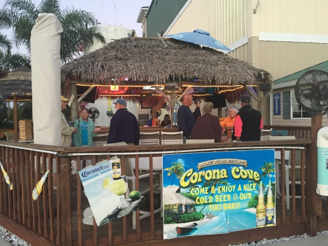 Tiki Bar for great conversations in the Turtle Cove Marina, Tarpon Springs.