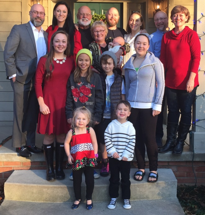 Our family Christmas picture on Pat and Heather's front porch.